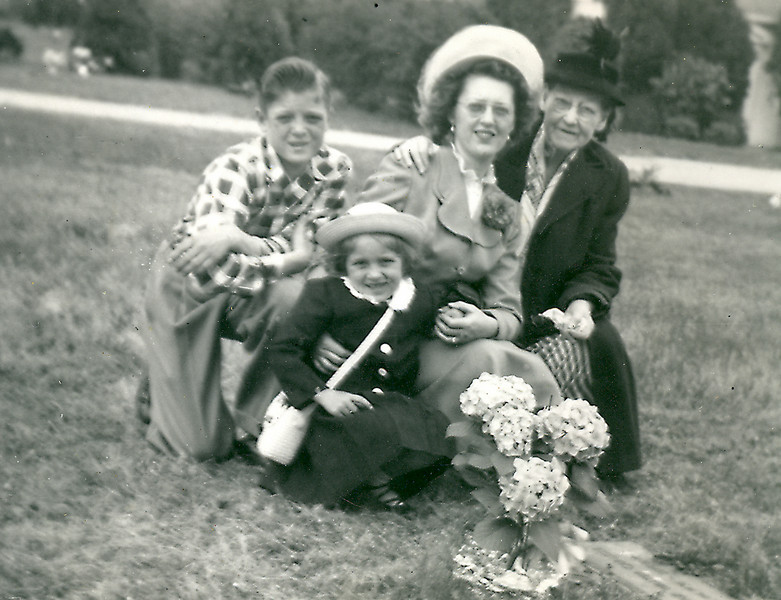 Mamie Carlise with Adelaide, Tommy and Carolyn White on Easter Sunday visiting Arthur Carlisle's grave site in Portsmouth, VA