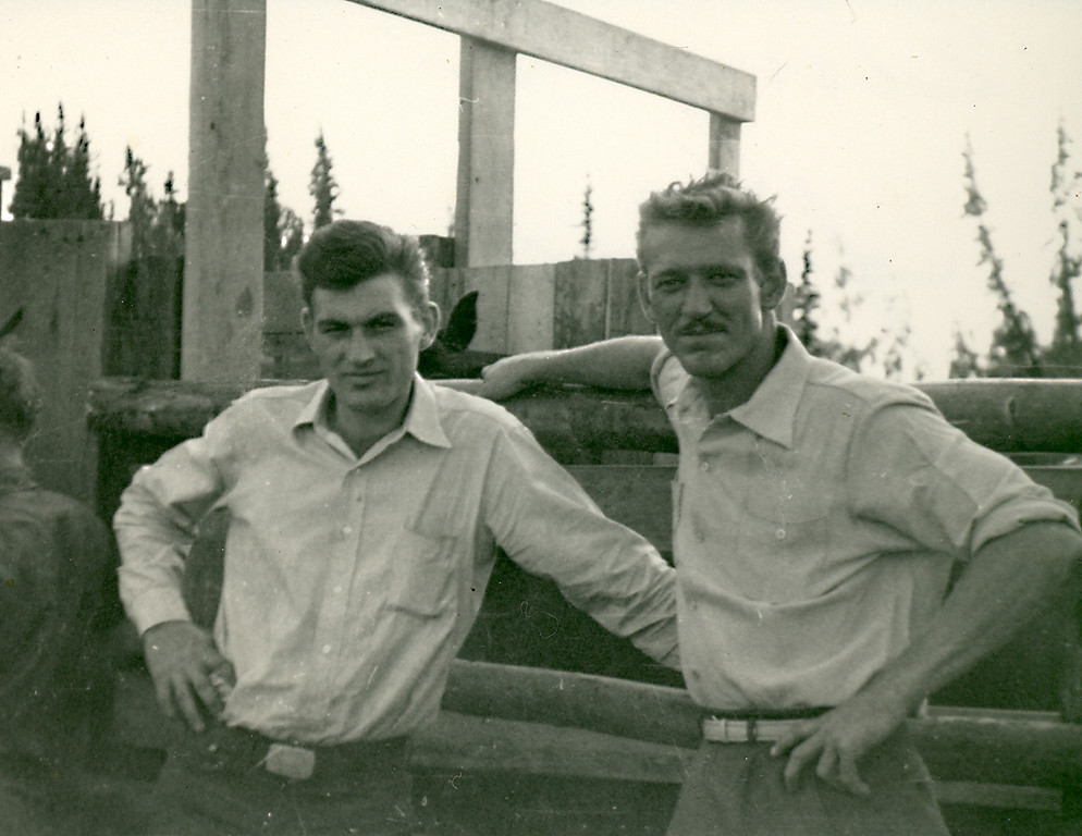 Elwood with a friend during his stint working in Alaska, 1954