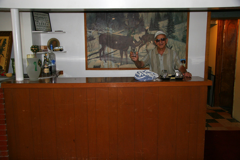Uncle Toddy at Grandpa's basement bar on a visit to Burnside in 2005