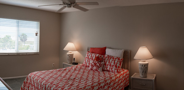 The Front Bedroom with a view out to Siesta Beach Park.