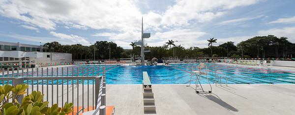 Newly opened outdoor pool. Diving practice underway
