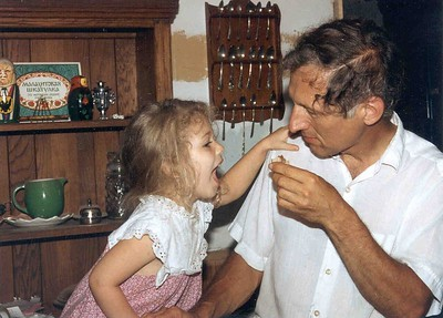 Daddy and Naomi, July of 1992, Taken with Canon T70, Kodak film, Scanned from print