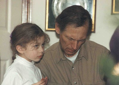 Naomi and Daddy in Monteat, NC, May 1994, Taken with Canon T70, Kodak film, Scanned from print