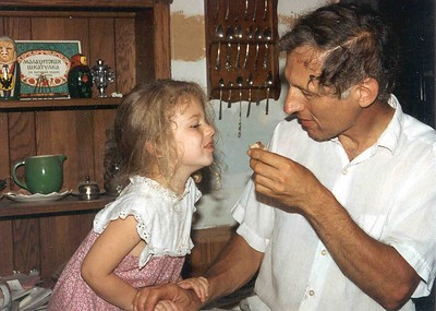 Naomi and Daddy, July of 1992, Taken with Canon T70, Kodak film, Scanned from print
