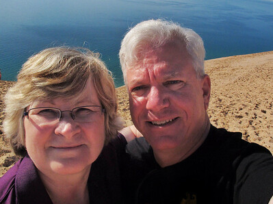 Double selfie atop Sleeping Bear Dunes.