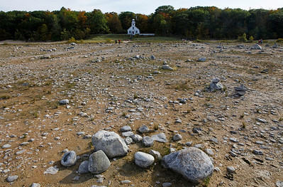Rocks revealed as the Lake Michigan water level dropped. This was all hidden by water in 1991.
