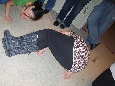 BALANCING NO ACT -- It may be hard to see but Maria balances on two hands.