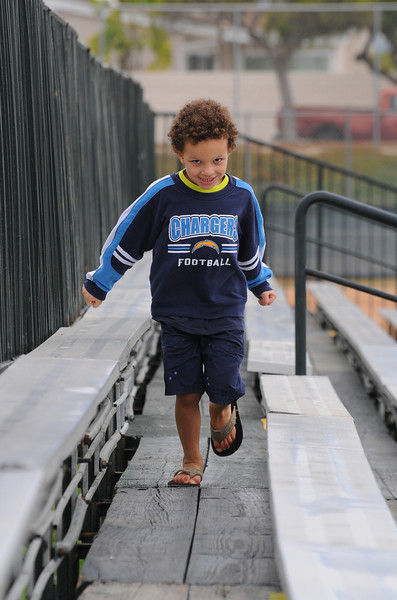Had him run the bleachers to stretch his legs.