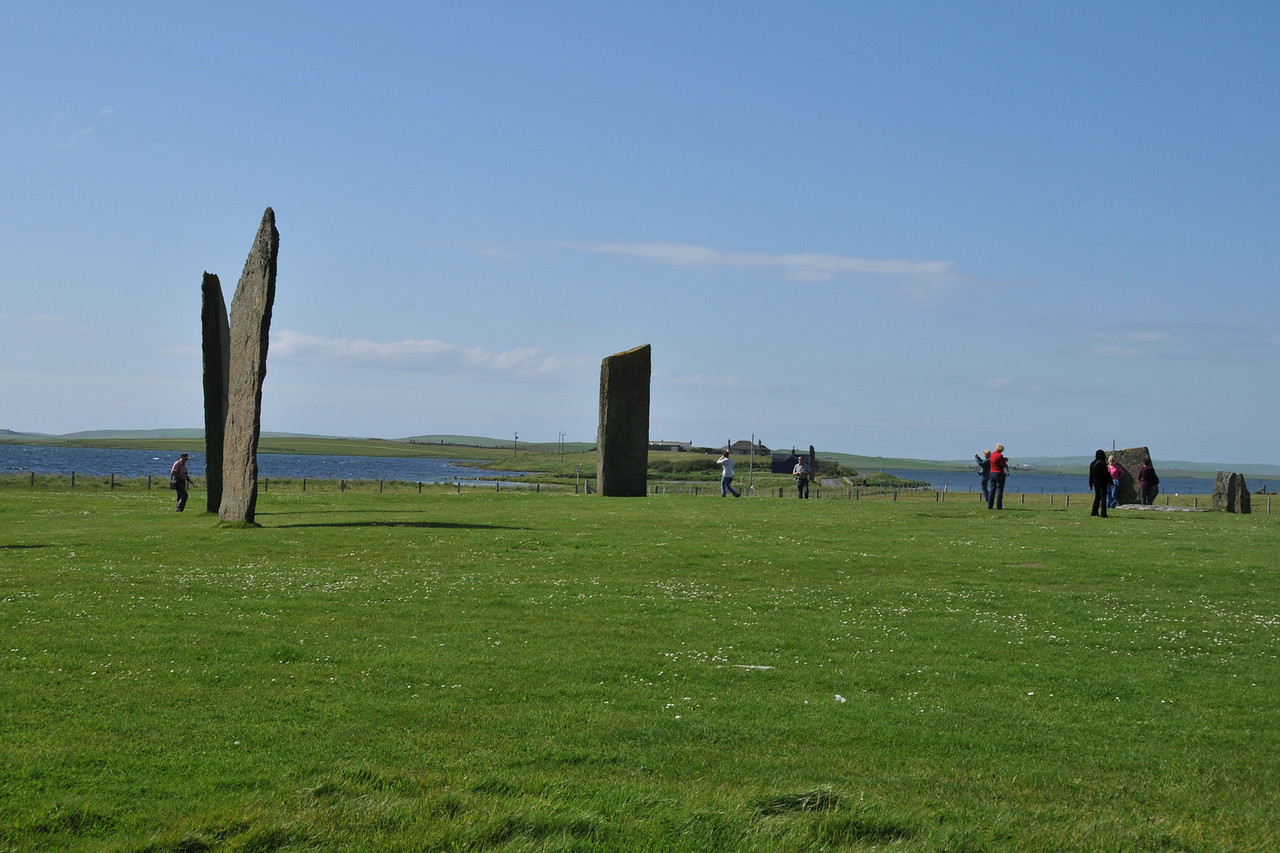 Standing Stones of Stenness with Ring of Brodgar in the background.