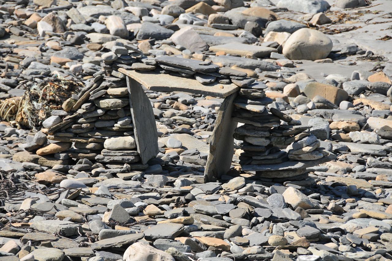 Modern version of Skara Brae building technique on the beach.