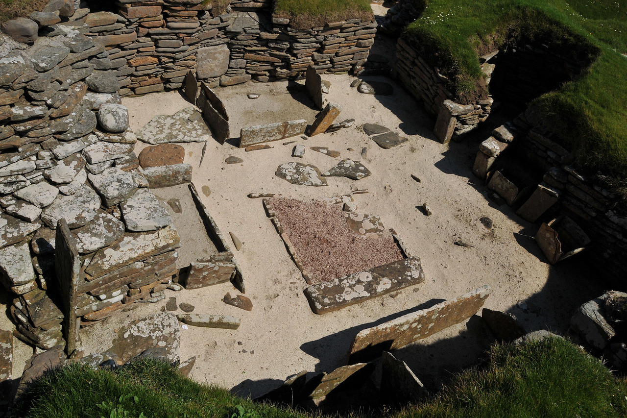 Detail of actual Skara Brae house.