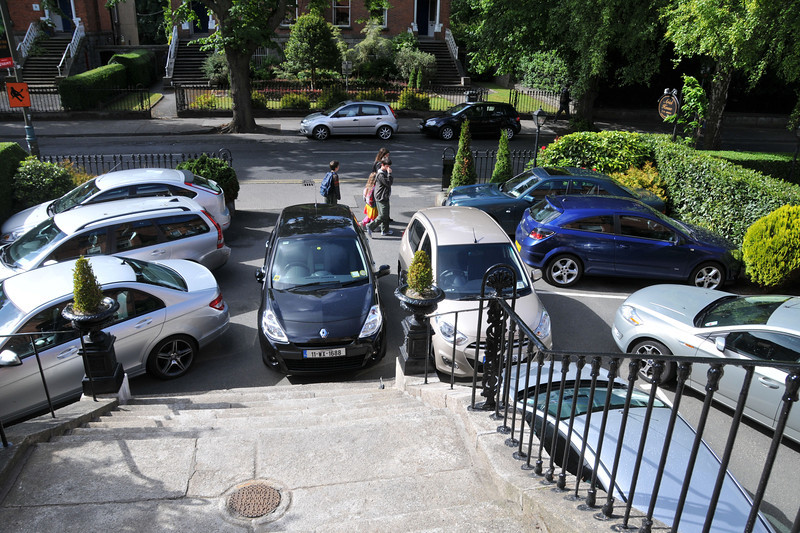 Crowded parking lot at lodgings