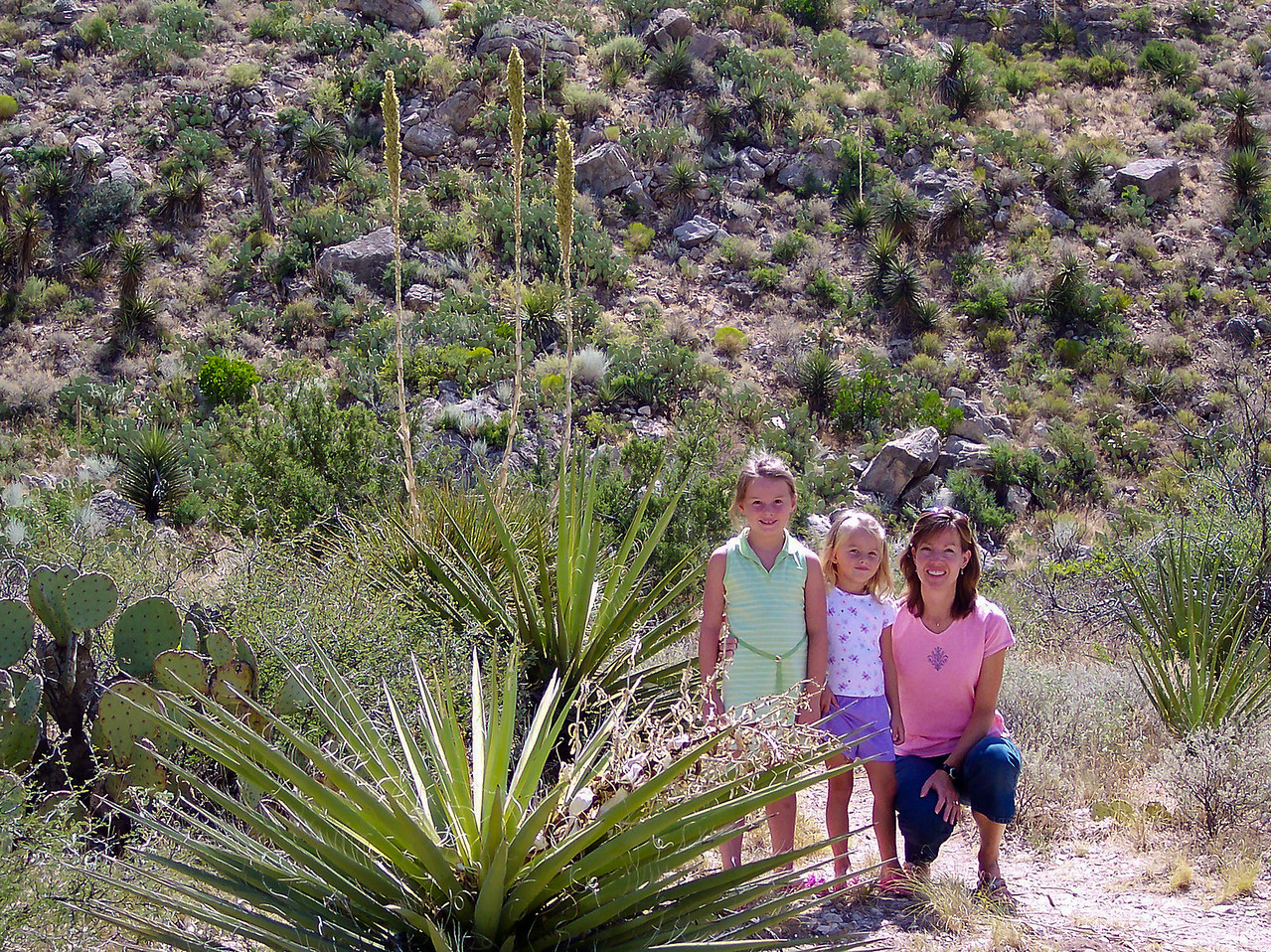 Lori, Katie and Caroline near the entrance of Carlsbad Caverns National Park, summer vacation in 2005.