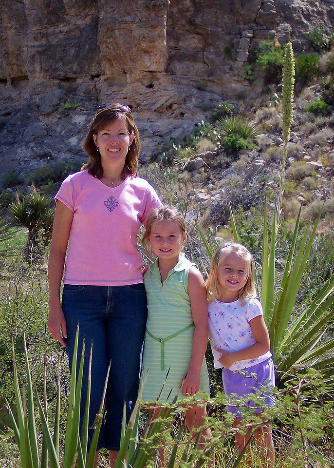 Lori, Katie and Caroline near the entrance of Carlsbad Cavern National Park, summer vacation in 2005.