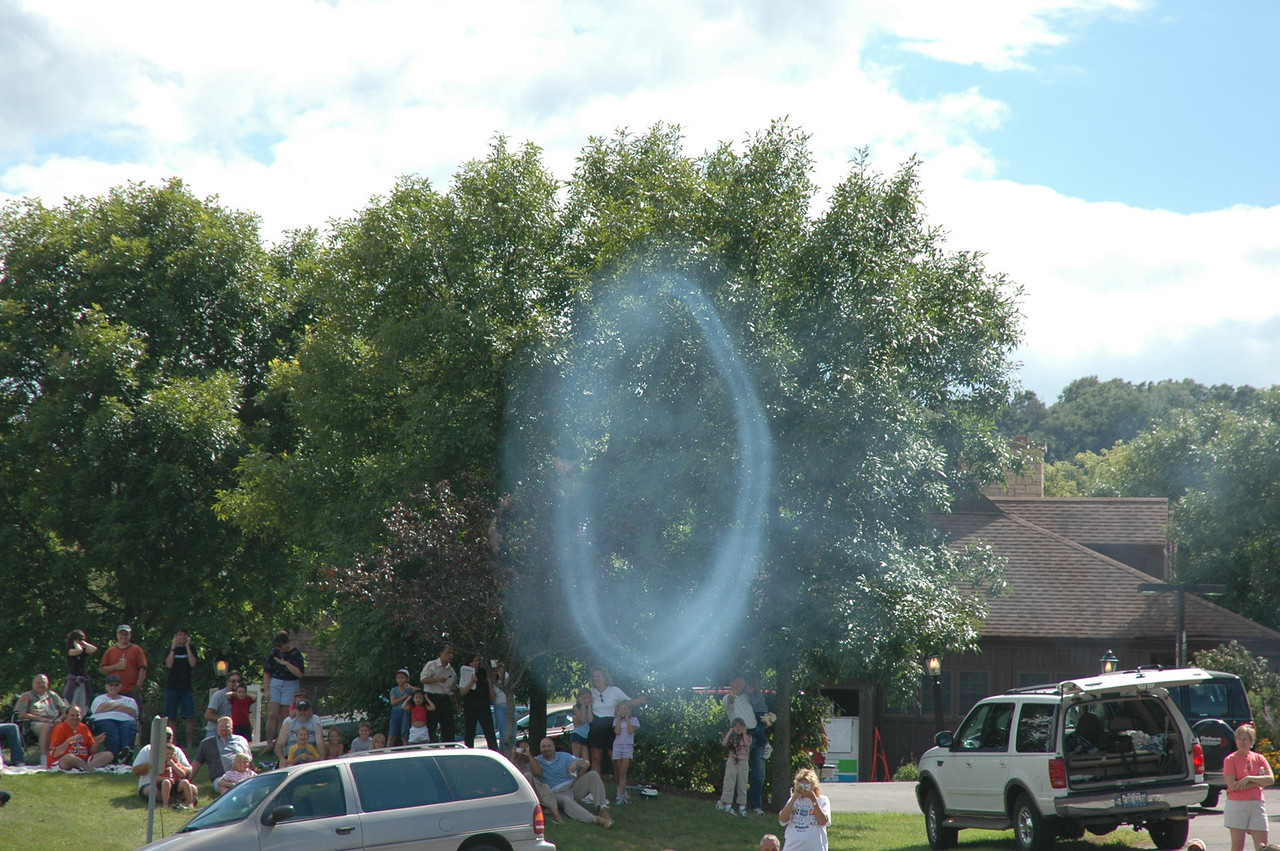 A smoke ring from the cannon fire