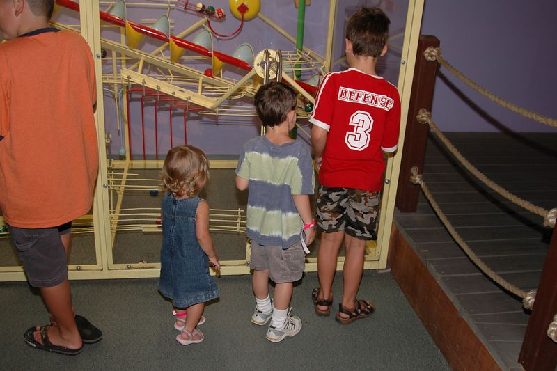 The kids watch the kinetic works