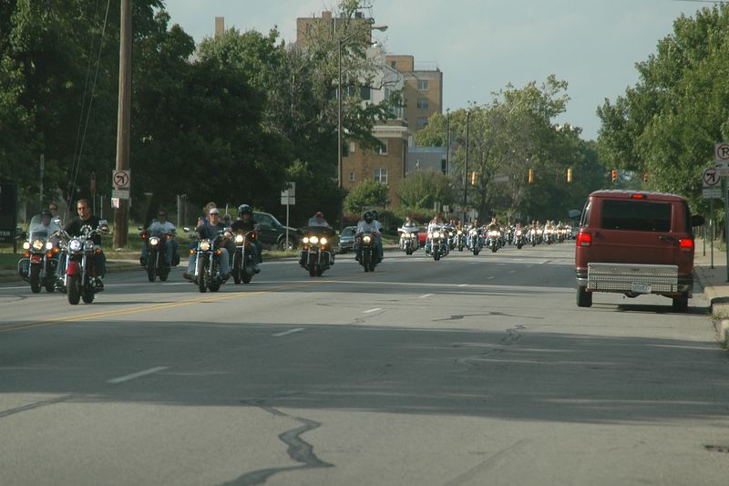 A long line of motorcycles came through on our way back to the hotel