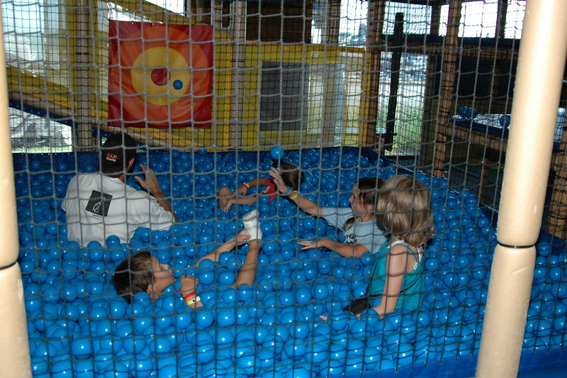 Uncle Craig is trapped in the ball pit