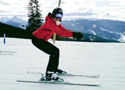 Mom skiing