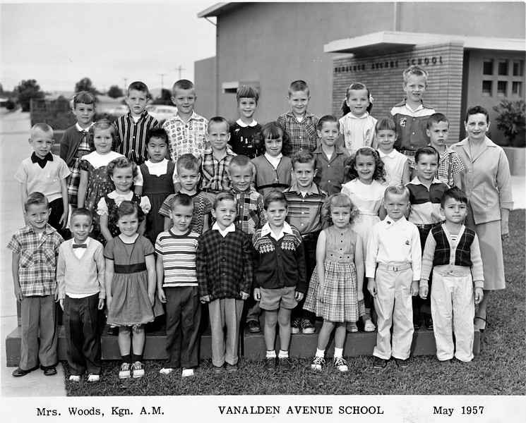 Some of the names are written on the back<br /> Top Row: Greg Lee (2nd from left) - David Brubaker (top right)<br /> Second Row: Chris - Julia Vase - Lynne Morshita - Paul - Lynn - Clyde Maw - Nancy <br /> Third Row: Joan Holland - Don - Mike O'Massey - Sam Woodley - ?<br /> Bottom Row: ? - ? - Linda - James - Danny Vitacy - ? - ? - Ricky Farington - Gary