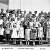 Top Row: Clayton - Sandra - Tommy Miles - Debbie Krugh - John Pierre - ?<br /> 2nd: ? - Nancy - Jack Berlin - Lynn - Steve - Sandra Lee Smith - ?<br /> 3rd: Martha - Bruce - ? - ? - David - Dorann Boulion - Mike - Donna<br /> 4th:Jr Mendoza - Don - ? - Debbie - Eve - Nancy Rodgers - Christine Neff<br /> (Mrs. Morgan carried a big paddle, and used it mercilessly)