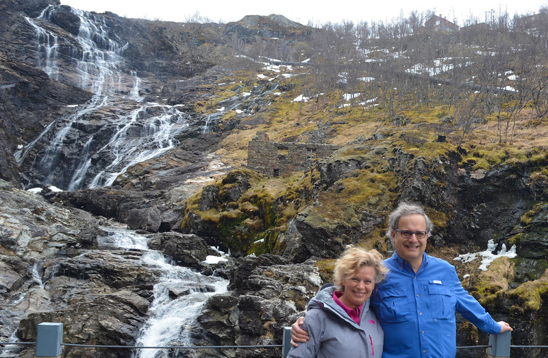 Karen and Vance at falls, Flam Valley, Norway.