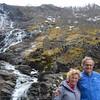 Karen and Vance at falls, Flam Valley, Norway.