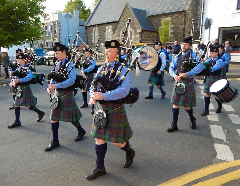 Bagpipe band, Portree, Isle of Skye, Scotland.