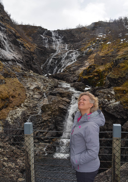Karen at falls, Flam Valley, Norway.