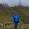 Karen braving the gale force winds at The Old Man of Storr, Isle of Skye, Scotland.