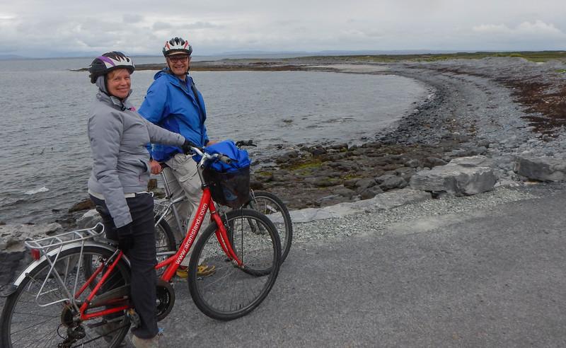 Karen and Vance biking, Inis Mor, Aran Islands, Galway, Ireland.