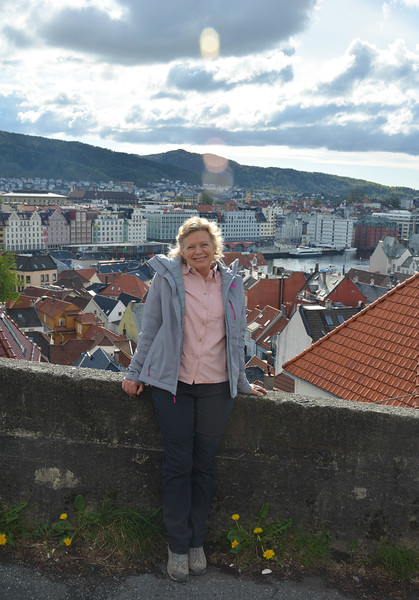 Karen on hillside, Bergen, Norway.