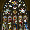 Stained glass in chapel, Kylemore Abbey, Galway, Ireland.