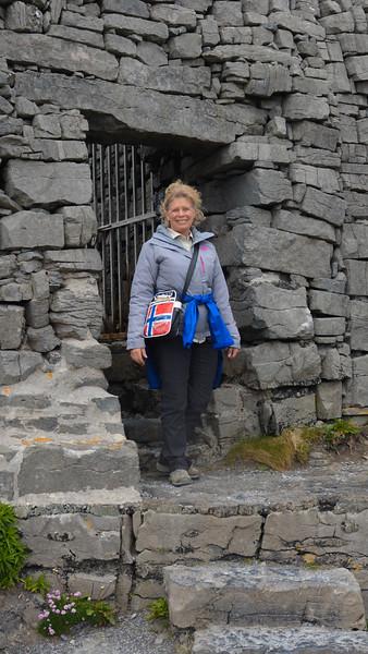 Karen, Dun Aonghasa fortress, Inis Mor, Galway, ireland.