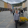 Karen in front of planter, Bergen, Norway.