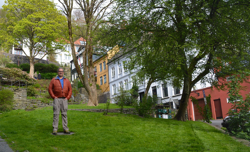 Vance in quaint neighborhood, Bergen, Norway.