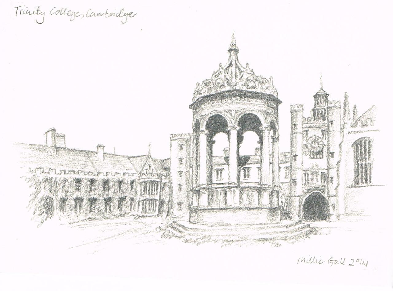 The fountain in Great Court, Trinity College, Cambridge