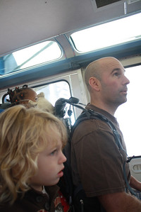 On the monorail to the Seattle Center