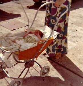 Jenny in her coche in Maracay in January 1974.