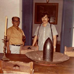 Papa and Sam at the Bolivar Museum in Venezuela 1974.