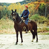 "Mom (Libby) on Horse (Panny....""Panhawk Illusion) - at Spring Valley Farm, Grafton Vermont 1986.  Panny is a registered Morgan gelding."