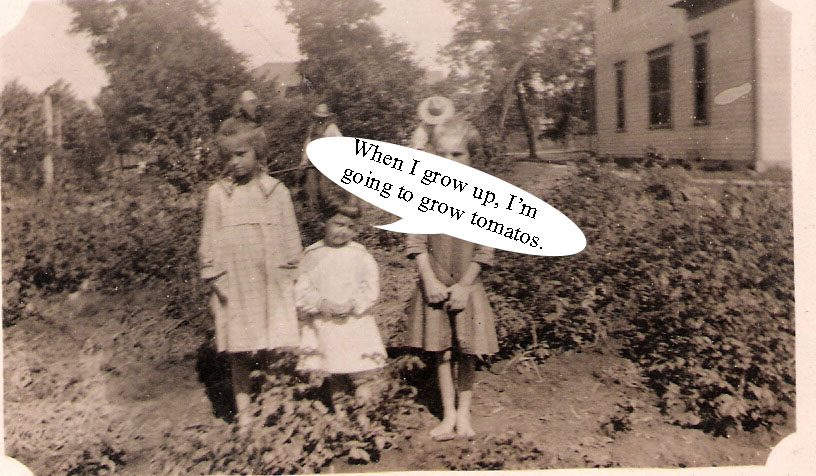 verna mae with others in garden captioned