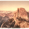 """Half Moon Sunset, Yosemite National Park<br /> Glacier Point in Yosemite National Park, is a great spot for photographing the high sierras with the big half rock or known as """"Half Moon"""" in the foreground. I decided to give the photograph an aged flair, of what it might look like after sitting in a lost box of photos taken back in the 30 or 40′s. I occasionally get request to fix old photos of the past with the red pigment showing all that's remaining."""