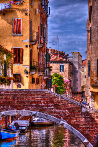Morning in Venice-You won't get there without climbing a bridge.  All points anywhere in Venice require crossing over canals and canals and canals. The colors this morning in Venice were very vibrant. Almost storybook when you add some HDR effect. Happy Mothers Day to all the mothers following my blog!!
