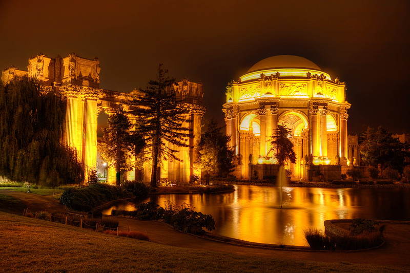 """Palace of Fine Arts, San Francisco<br /> San Francisco can be overwhelming to drive in, if you're not familiar with the town. We were looking for the """"Crooked Street"""", aka, Lombard Street when our GPS just happened to find this place. If I was actually looking for the """"Palace of Fine Arts"""", I'm sure the GPS would have taken us somewhere else. It wasn't doing well this night, finding our way in downtown San Francisco. Sometimes, just pulling out the map, like in the olden days, works just fine. Despite it all, what a pleasant surprise to find this magical place, all lit up and waiting for me to take an array of HDR photos."""