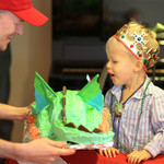 Logan's 3rd birthday party: princes, dragon cakes, gold coins, and chocolate fountains!