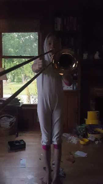 Lila decided to learn the trombone this year, age 10, grade 5.