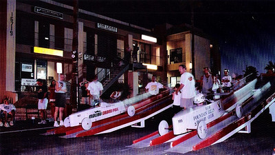 Fountain Hills Gravity Car Races 1995-2000, sponsored by Fountain Hills and Four Peaks Rotary Clubs and local businesses.  Some of the largest kids coaster races in the US.