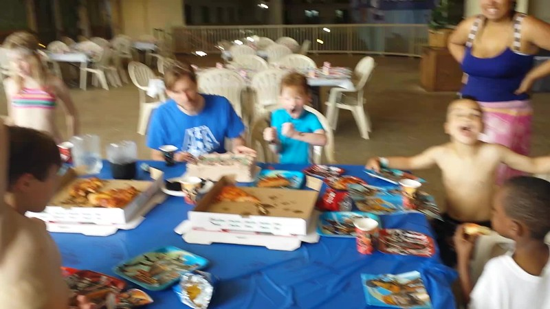 Mason's birthday party at the Water Park of America, 2015. Birthday # 6.