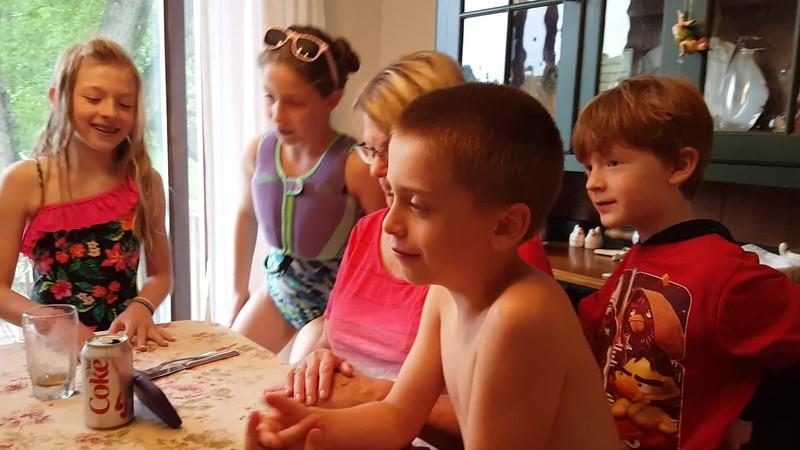 Cousins singing to Nana.<br /> Lila, Sophie, Nana, Mason and Will.